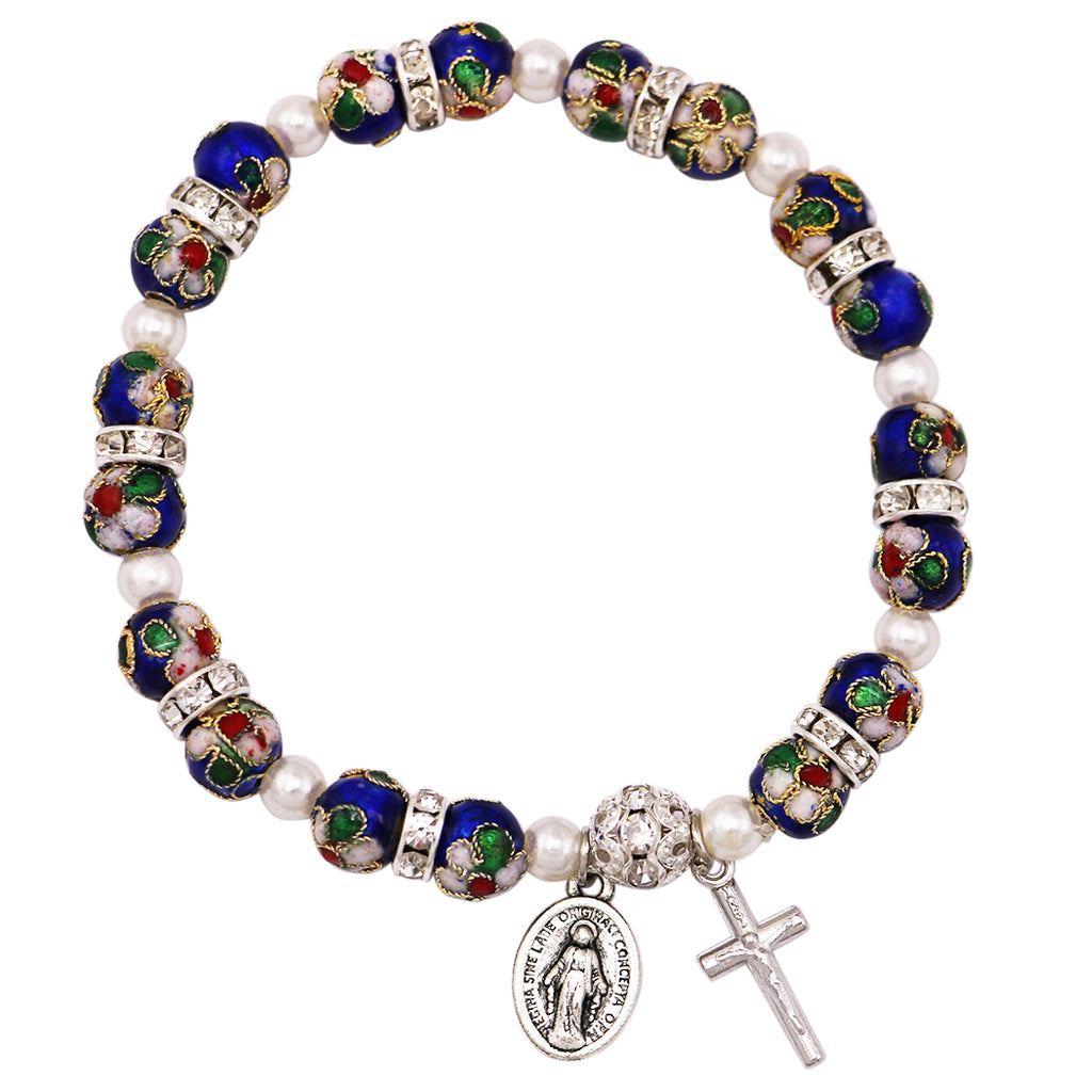 Blue Cloisonne Beaded Stretch Rosary Bracelet with Crucifix, Miraculous Medal