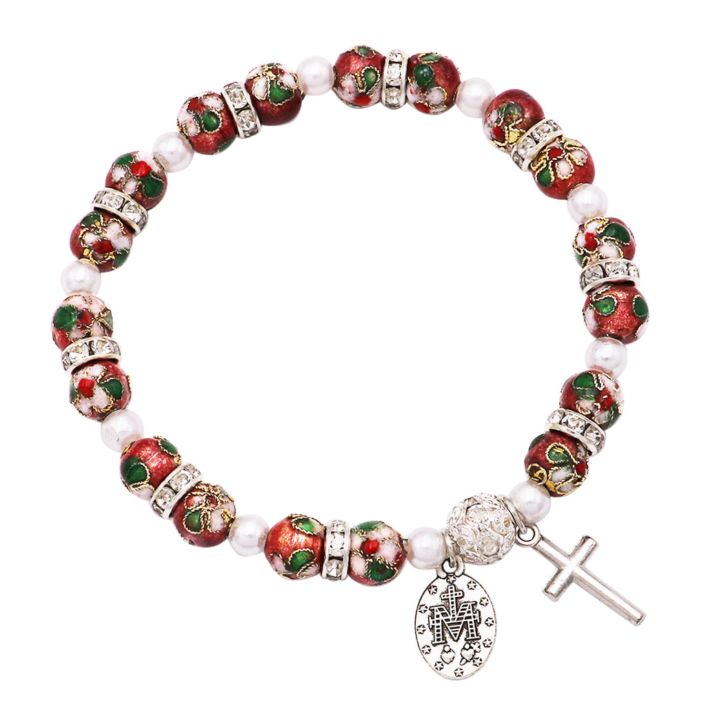 Cloisonné Beaded Stretch Rosary Bracelet with Crucifix and Miraculous Medal (Rose)