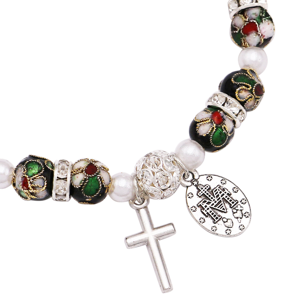 Cloisonné Beaded Stretch Rosary Bracelet with Crucifix and Miraculous Medal (Black)