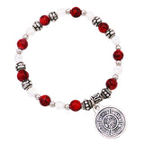 Imported Italian Beaded Stretch Bracelet with Religious Medal (St Florian/Firefighter)