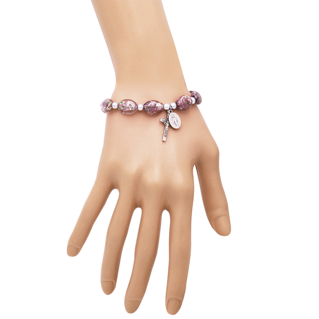 Religious Imitation Murano Glass Oval Bead Rosary Stretch Bracelet (Amethyst)