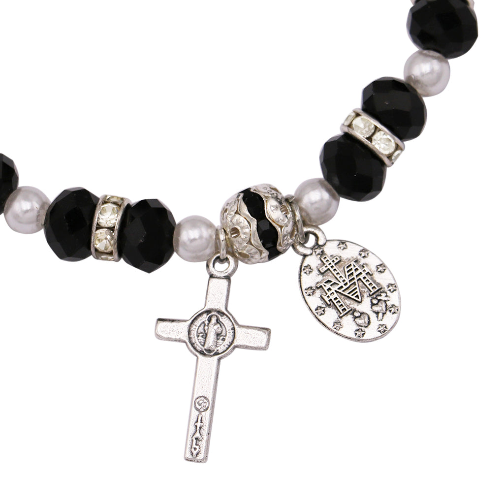 Beaded Stretch Rosary Bracelet with Crucifix and Miraculous Medal (Black)