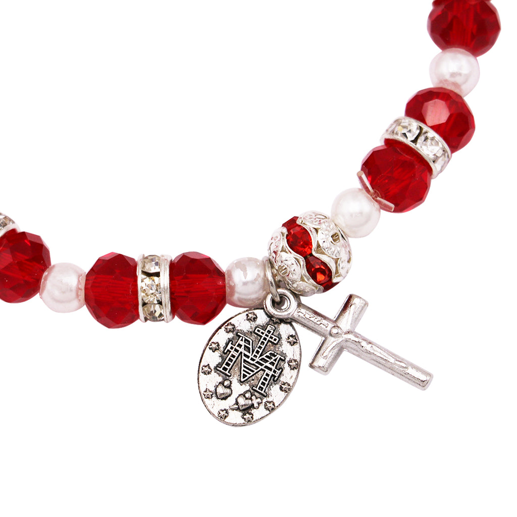 Beaded Stretch Rosary Bracelet with Crucifix and Miraculous Medal (Red)