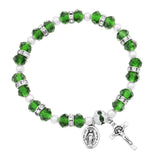 Beaded Stretch Rosary Bracelet with Crucifix and Miraculous Medal (Green)