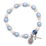 Simulated Pearl Beaded Stretch Rosary Bracelet with Crucifix and Miraculous Medal (Blue)