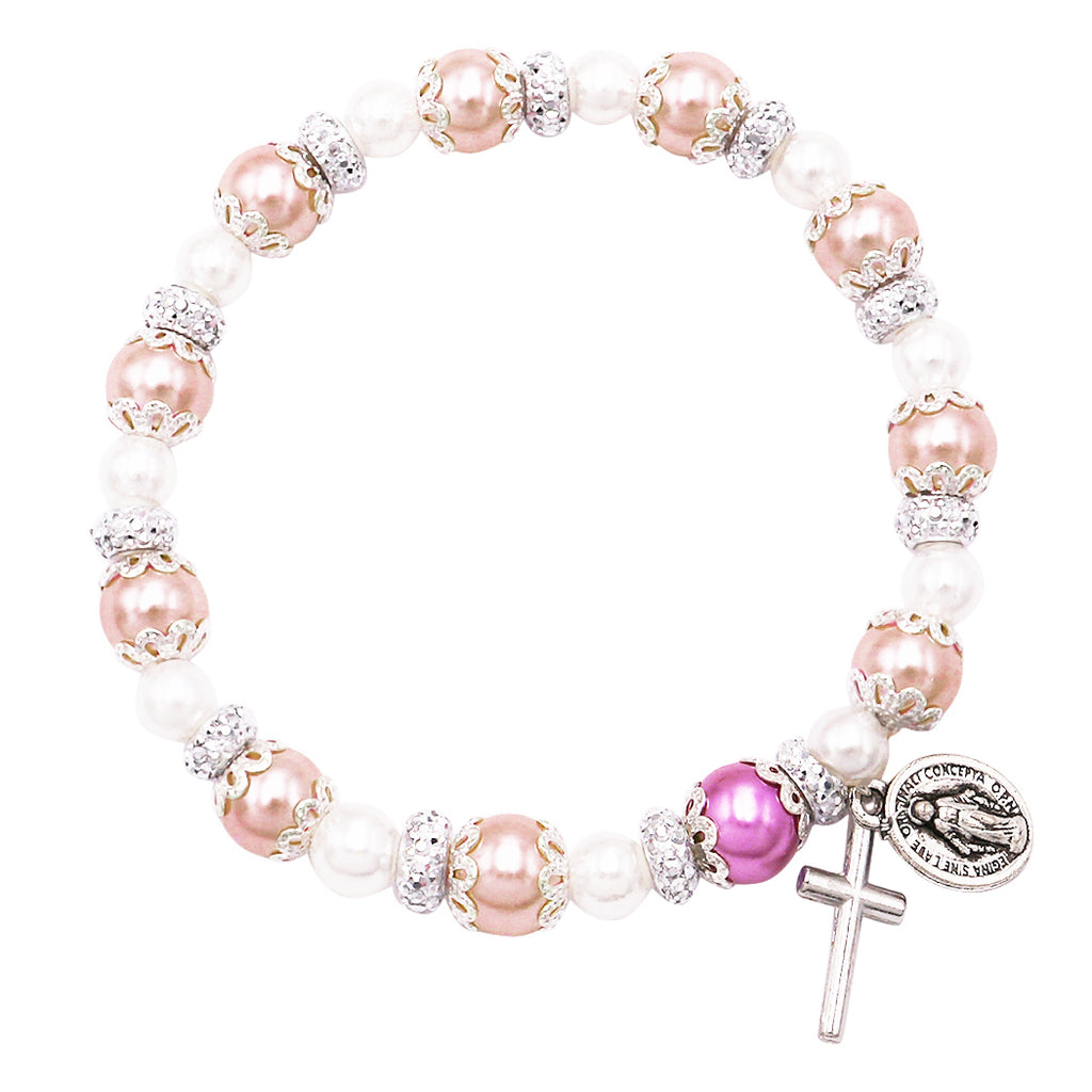 Simulated Pearl Beaded Stretch Rosary Bracelet with Crucifix and Miraculous Medal (Blush Pink)