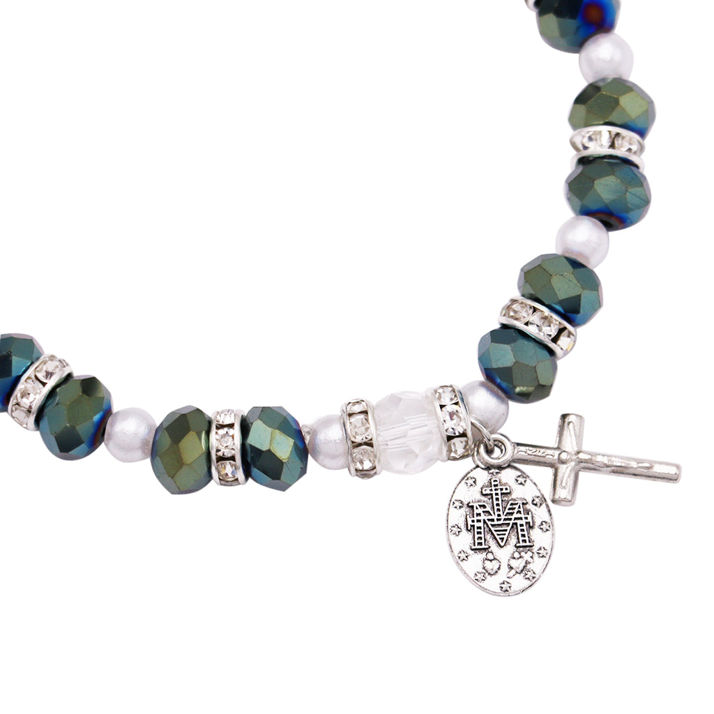 Beaded Stretch Rosary Bracelet with Crucifix and Miraculous Medal (Sparkle Smoke)