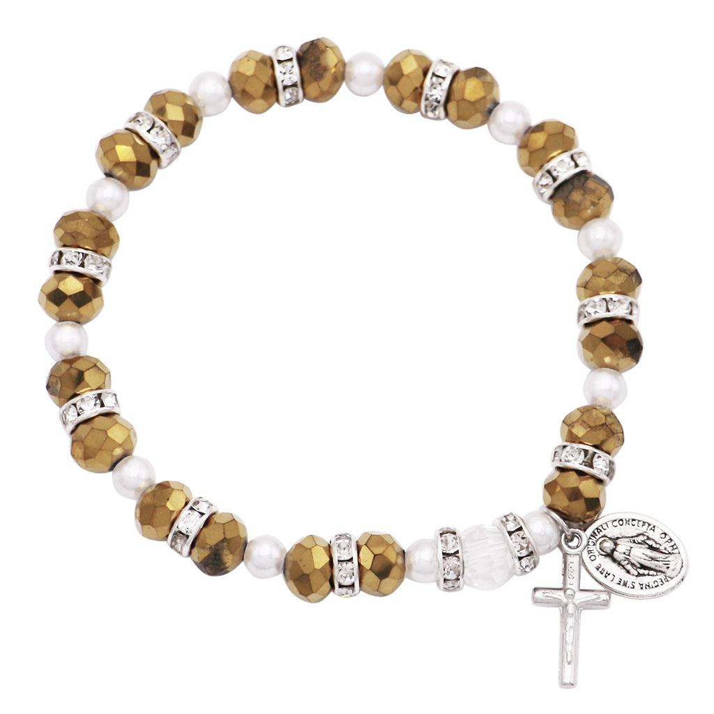 Beaded Stretch Rosary Bracelet with Crucifix and Miraculous Medal (Sparkle Gold)