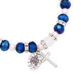 Beaded Stretch Rosary Bracelet with Crucifix and Miraculous Medal (Sparkle Blue)
