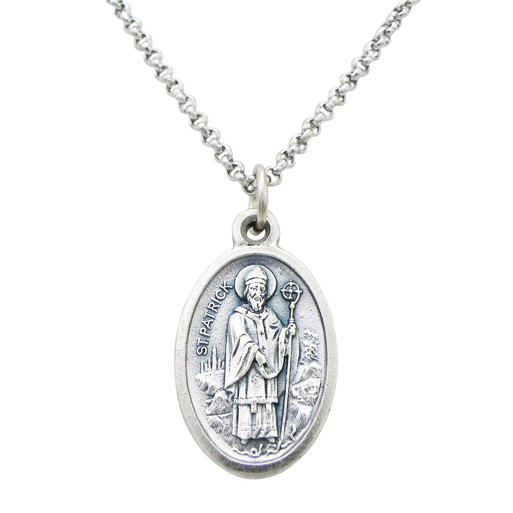 "Irish Religious Medal St Bridget and St Patrick Pendant Necklace,18"" with 2"" Extension"