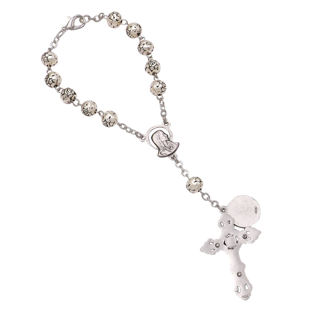 Religious One Decade Car Rosary Silver tone St. Christopher Safe Travels