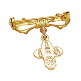Religious Gift Gold Color Four Way Cross Medal Petite Brooch Pin