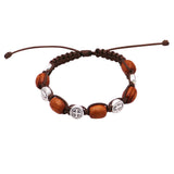Imported from Italy Religious Saint Benedict Medals and Wood Beads Slip Knot Bracelet