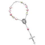Religious Gift Beautiful White and Pink Flower Beaded One Decade Car Rosary
