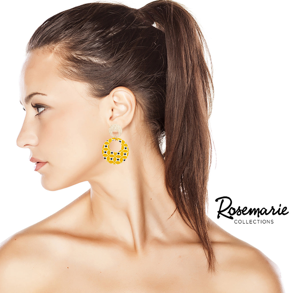 New Trending Fashion Print Yellow Wood Hoop Dangle Post Earrings 2 Inches