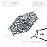 Reusable Fashion Fabric Face Masks with 10 Replaceable Charcoal Filter Inserts (Black and White Snake)
