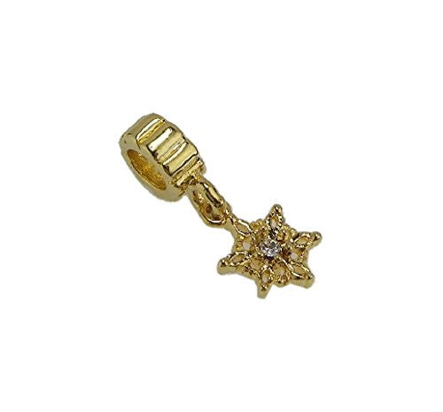 Golden Snowflake Dangle Clear Crystal