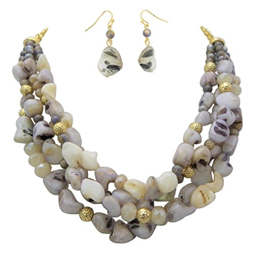 Multi Strand Natural Stone and Crystal Bead Statement Necklace Earring Set