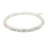 Breast Cancer Pink Ribbon Stretch Crystal Bangle Bracelet