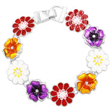 Women's Multi Color Wild Flower Enamel Magnetic Clasp Bracelet (Flowers)