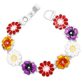 Colorful Wild Flower Enamel Magnetic Clasp Bracelet (Flowers)