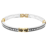 Tailored Two Tone Double Stretch Stackable Bracelet (Large Dot Pattern)