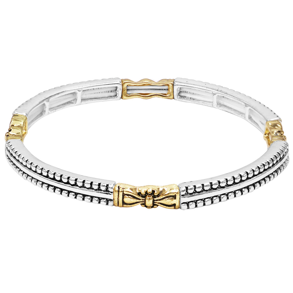Tailored Caviar Pattern Two Tone Double Stretch Stackable Bracelet (1/4 Inch Thin Double Dot Pattern)