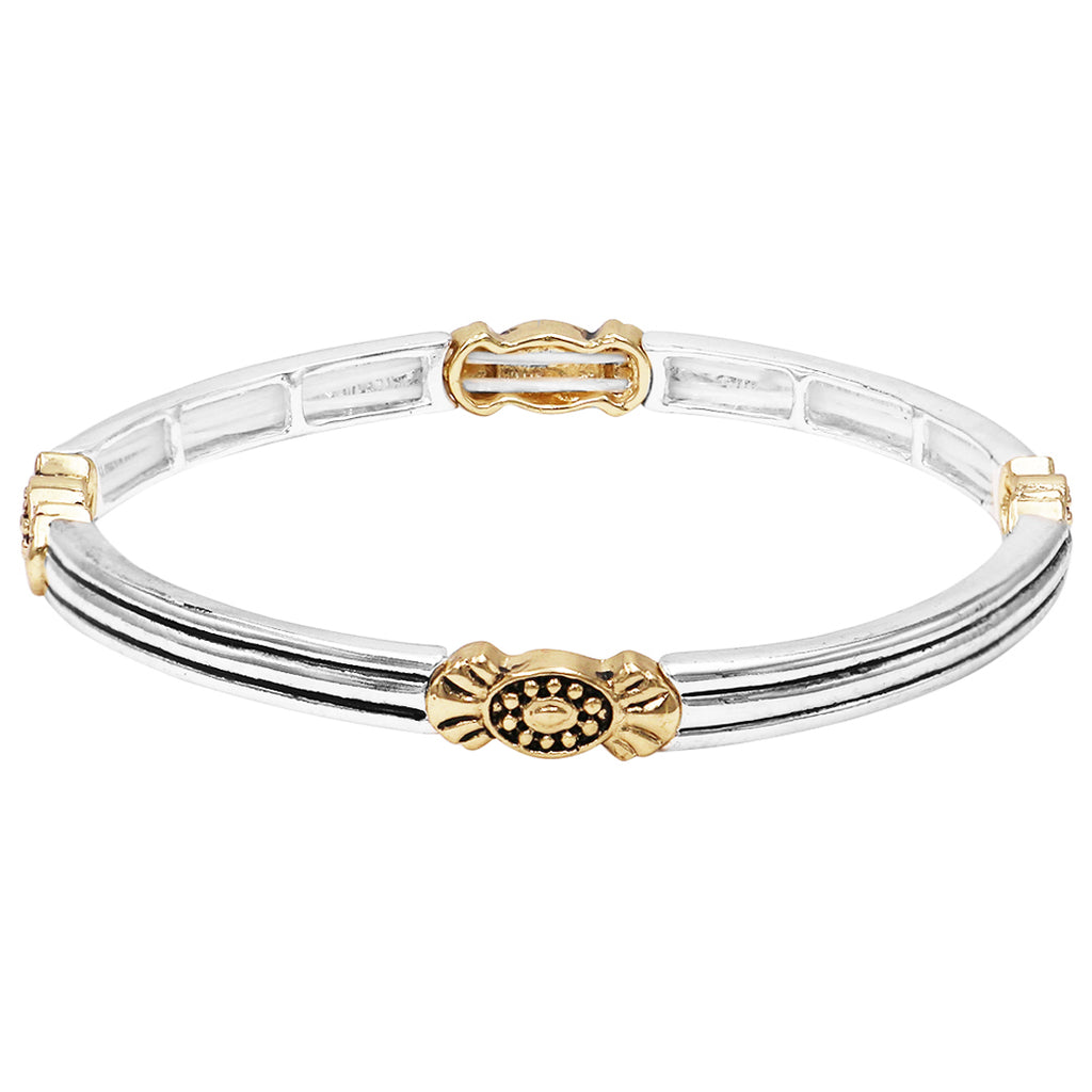 Tailored Two Tone Double Stretch Stackable Bracelet (Striped Pattern)
