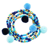 Women's Versatile Colorful Pompoms Beaded Stretch Wrap Bracelet or Necklace