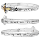 Two tone Cross Religious Engraved Serenity Prayer Stretch Bracelet