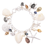 Nautical Sea Life Charms Toggle Bracelet