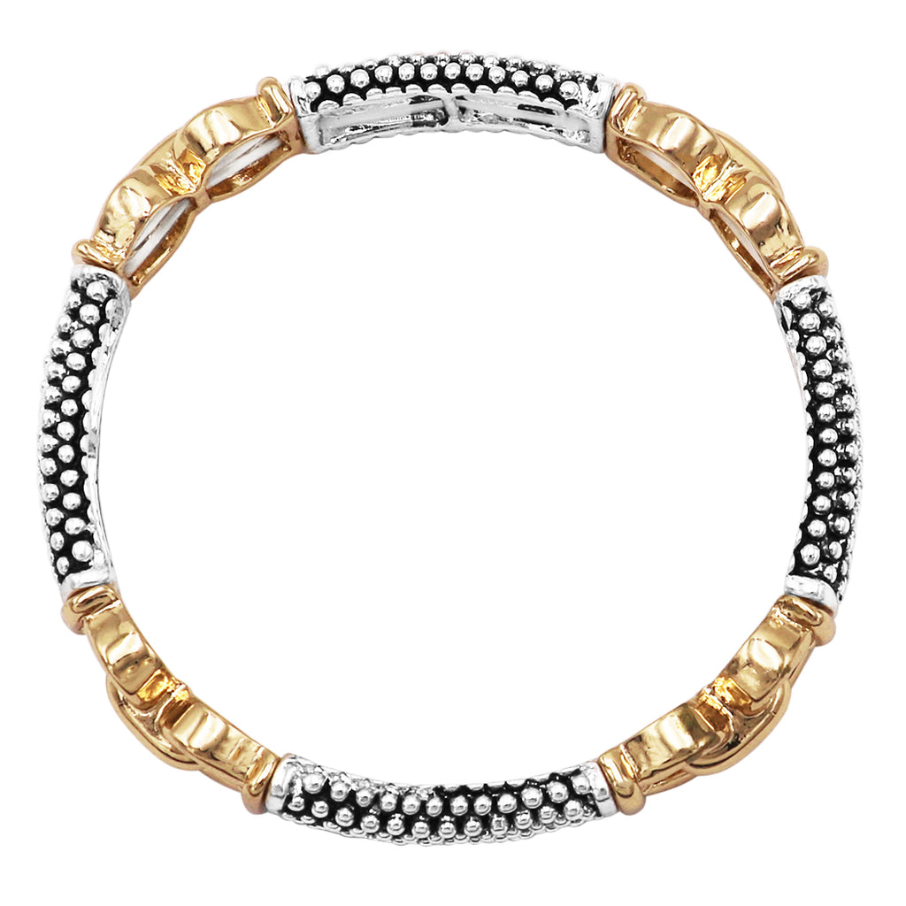 Tailored Caviar Pattern Two Tone Double Stretch Stackable Bracelet (Gold Tone Double Loop)