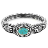 Southwestern Adjustable Style Hinged Turquoise Statement Cuff Bracelet