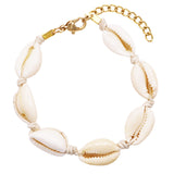 Women's Adjustable Corded Natural Cowrie Seashell Bracelet