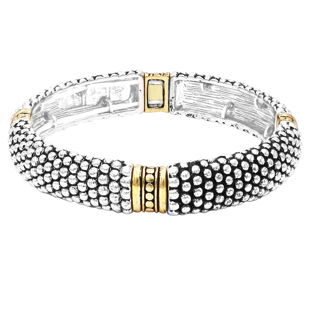 Tailored Caviar Pattern Two Tone Double Stretch Stackable Bracelet (Gold Tone Bar)