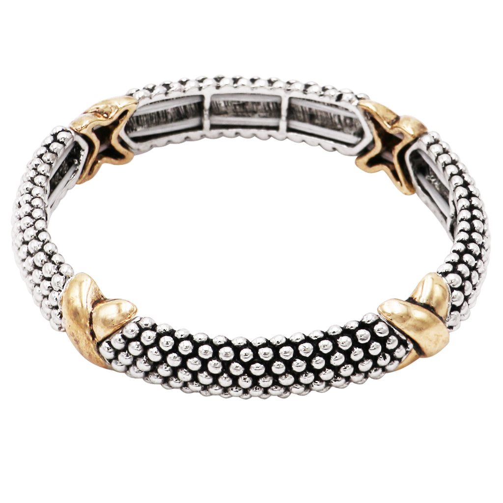 Tailored Caviar Pattern Two Tone Double Stretch Stackable Bracelet (Gold Tone X)