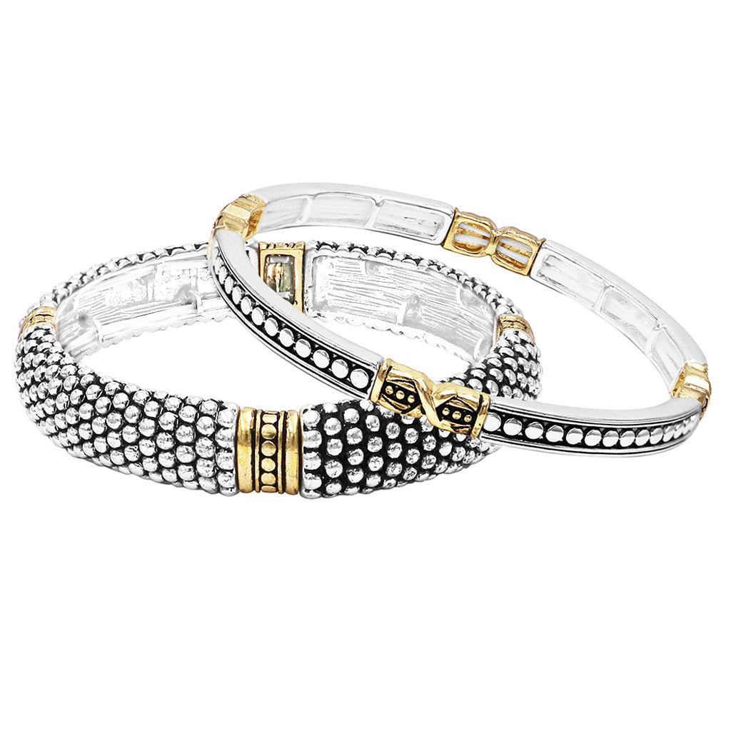 Tailored Caviar Pattern Two Tone Double Stretch Stacking Bracelets Set Of Two