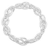 Silver Tone Large Cable Link Stretch Bracelet