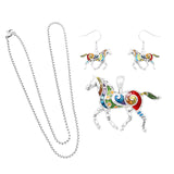 Rosemarie & Jubalee Beautiful Statement Aqua Enamel Coated Horse Pendant and Earring Set with Free Stainless Steel Chain (Rainbow Multi)