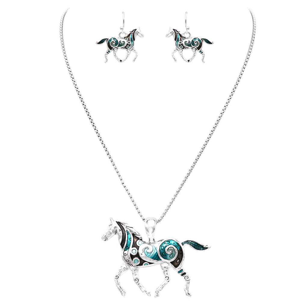 Rosemarie & Jubalee Beautiful Statement Aqua Enamel Coated Horse Pendant and Earring Set with Free Stainless Steel Chain (Aqua Colors)