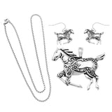 Rosemarie Collections Beautiful Statement Silver Tone Horse Pendant and Earring Set with Free Stainless Steel Chain