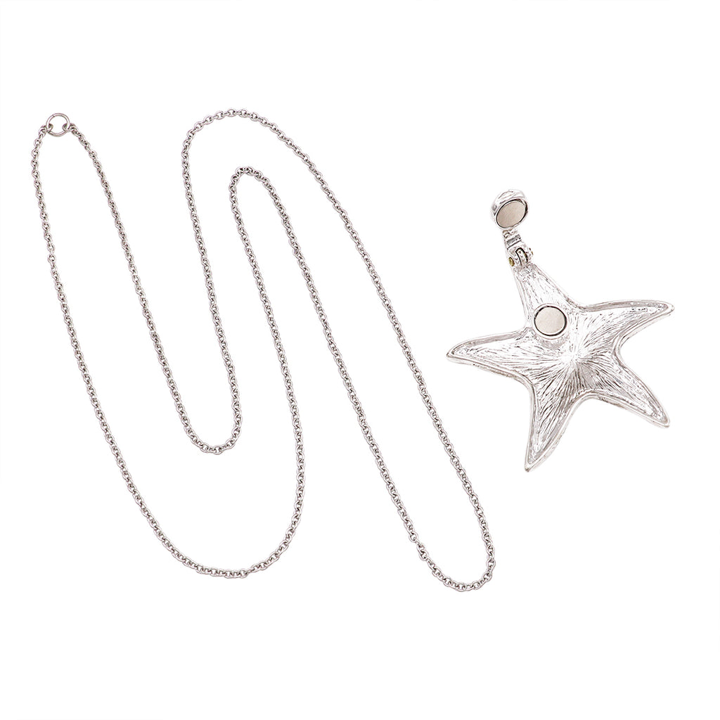 Beautiful Statement Magnetic Starfish Medallion Pendant and Earring Jewelry Set with Free Stainless Steel Chain