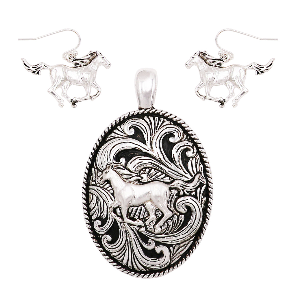 Rosemarie Collections Beautiful Statement Magnetic Horse Medallion Pendant and Earring Set with Free Stainless Steel Chain (Horse)