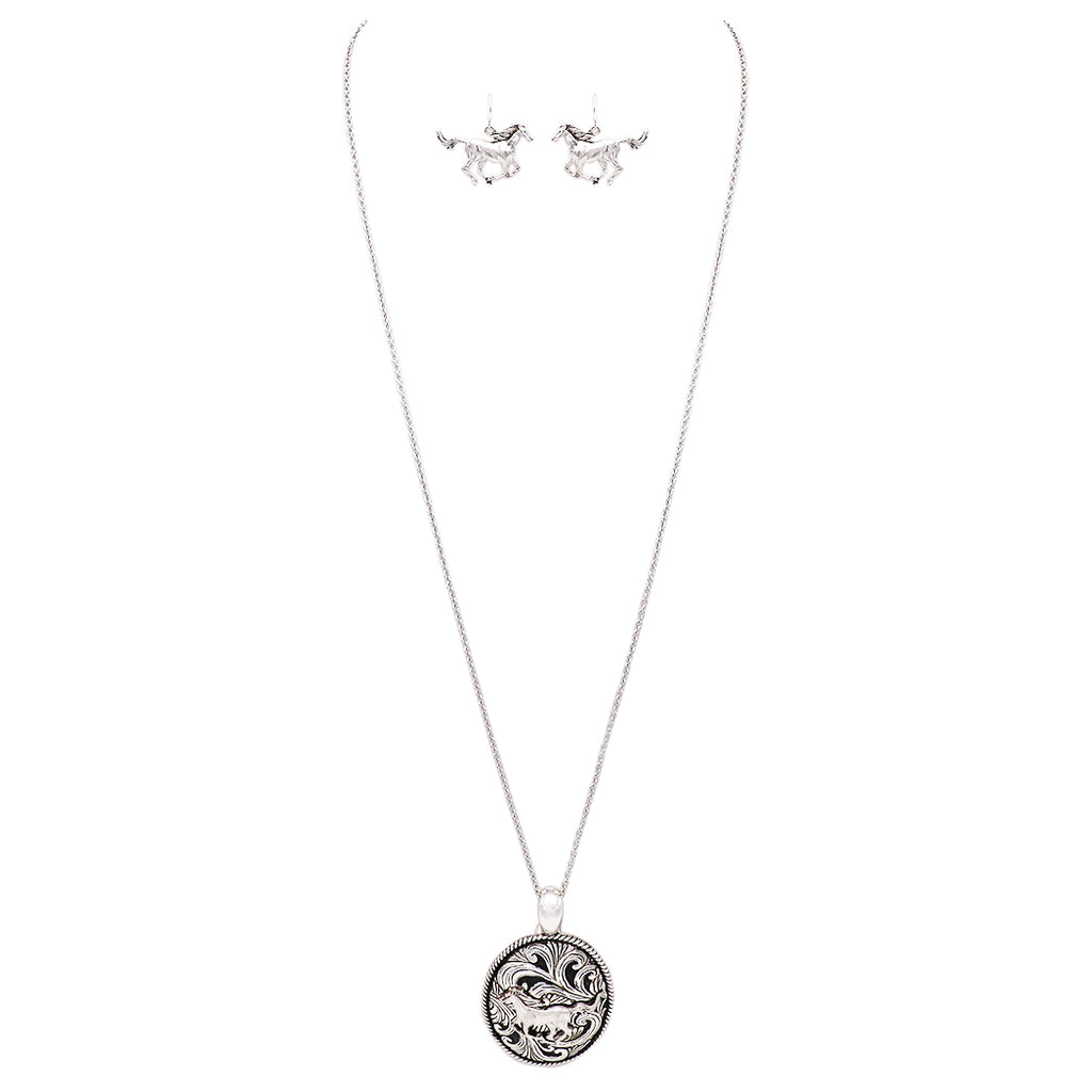 Beautiful Statement Magnetic Medallion Pendant and Earring Set includes Free Stainless Steel Chain