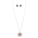 Beautiful Statement Magnetic Medallion Pendant and Earring Set with Free Stainless Steel Chain