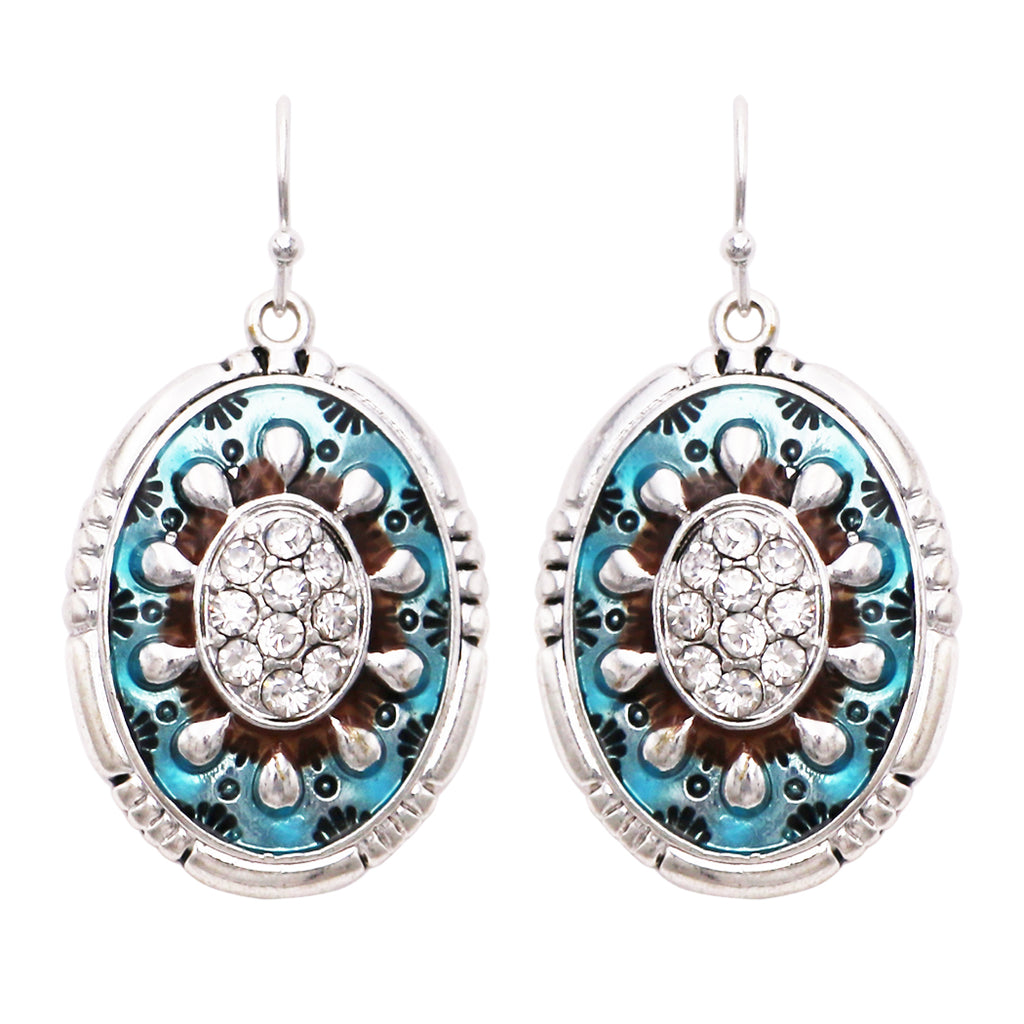 Southwestern Enamel Concho Silver Turquoise Color with Rhinestones Statement Dangle Earrings