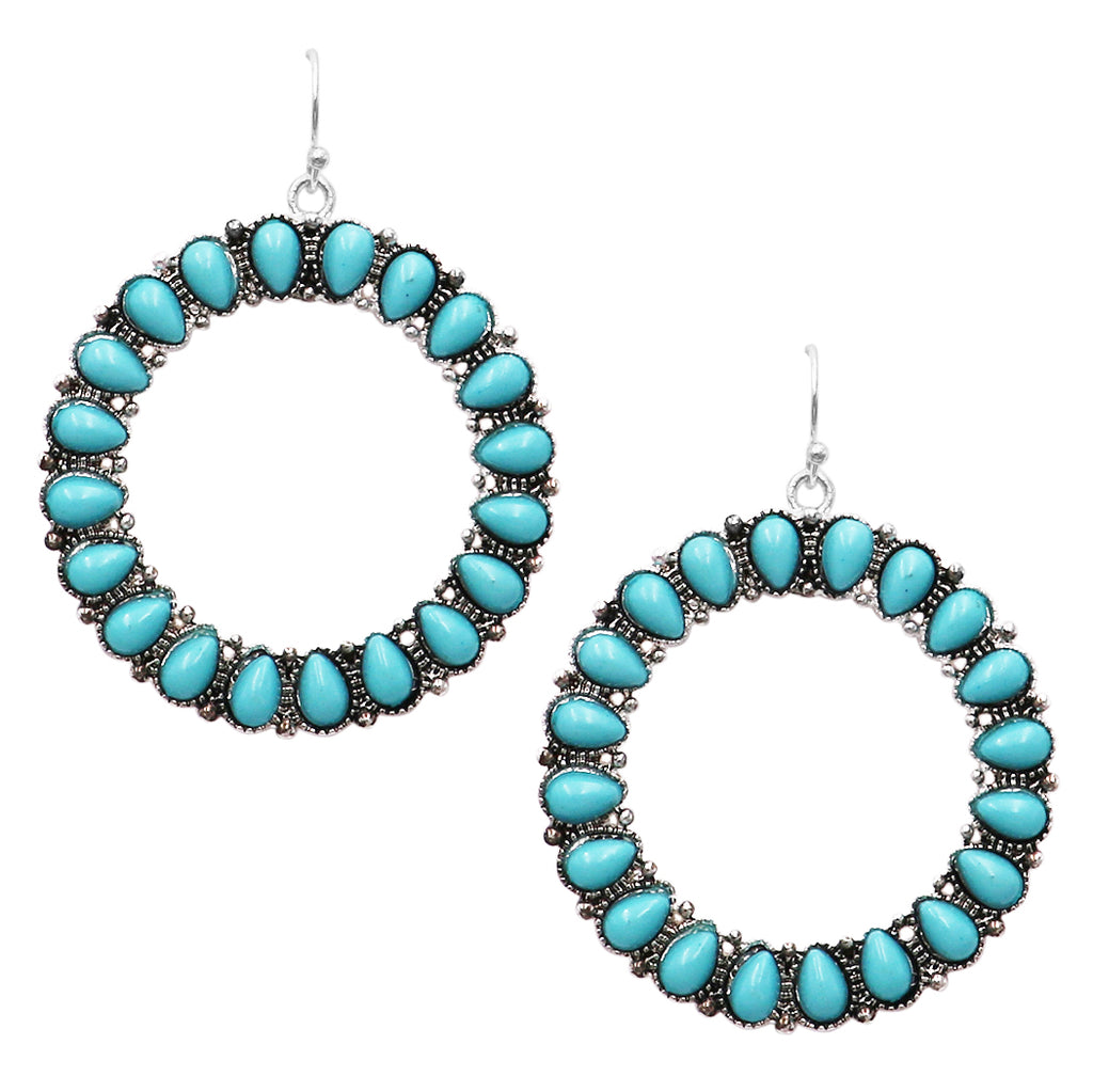 Statement Turquoise Tone Circular Hoop Dangle Earrings