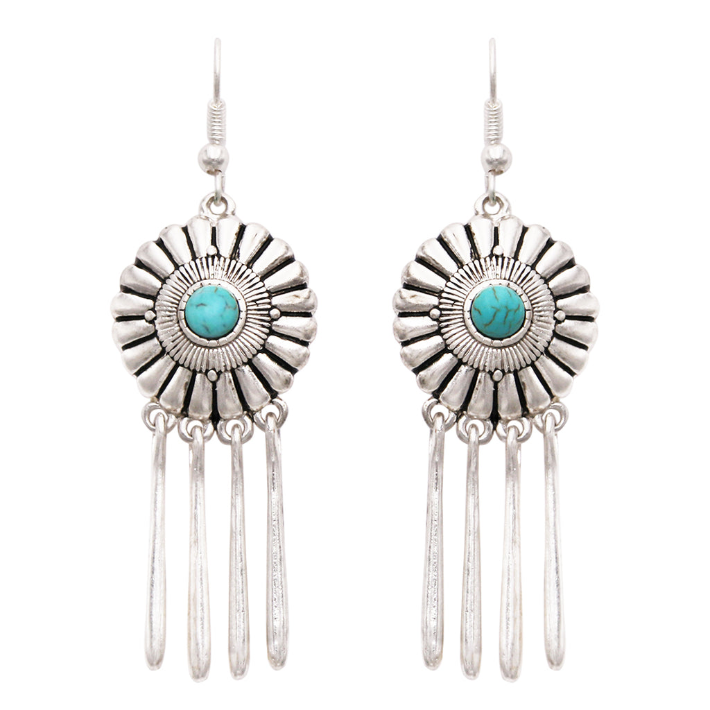 Southwestern Concho Style Round Turquoise Dangle Drop with Fringe Statement Earrings
