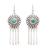 Women's Southwestern Concho Style Round Turquoise Dangle Drop with Fringe Statement Earrings, 2.5