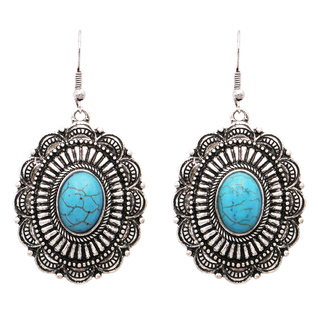"Southwestern Concho Style Howlite Stone Dangle Drop Statement Earrings 2"" Turquoise Color"